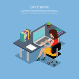 Isometric Woman Office Work Interior Design Royalty Free Stock Photography