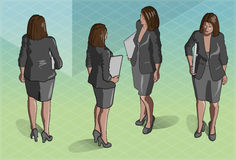 Isometric Woman Secretary Standing Royalty Free Stock Photo