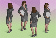 Isometric Woman Secretary Standing Stock Photo