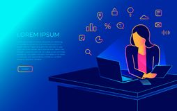 Isometric woman sitting in the office at work desk and working with laptop. Modern illustration of student working, programing vector illustration