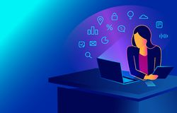 Isometric woman working with laptop at her work desk, looking at monitor and smartphone. 3d Business lady on violet background. online education isometric royalty free illustration