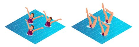 Isometric womans athlete on the performance of synchronized swimming performing art elements. Swimming sportswoman. Swimmer team, water dance vector stock illustration