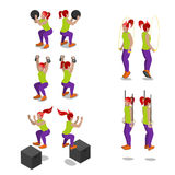 Isometric Women on Crossfit Gym Workout and Exercises Royalty Free Stock Images