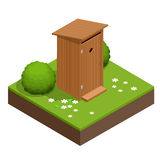 Isometric wooden bio toilet cabin. Hiking services. Flat color style vector icon Stock Photo
