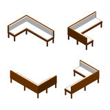 Isometric wooden corner bench in different projections. Vector sofa illustration. Isometric wooden corner bench in different projections. Vector sofa Stock Photo