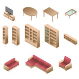 Isometric wooden furniture for living room Stock Photography