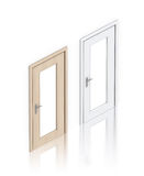 Isometric wooden light and white painted doors . Stock Photography