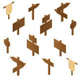 Isometric wooden pointers. Brown plywood. Rustic signs direction. Road. Wooden stand for posters and ads. The arrow direction. Game design. Vector illustration Stock Photos