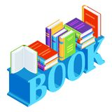 Isometric word with books. Education or bookstore illustration in flat design style Royalty Free Stock Image