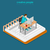 Isometric work business flat 3d man table notebook. Isometric Mobile office work business concept. Flat 3d isometry web site conceptual vector illustration Royalty Free Stock Photo