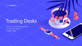 Isometric work desk banner. freelance desk stock illustration
