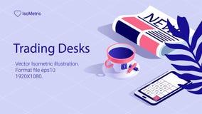 Isometric work desk banner. freelance desk royalty free illustration