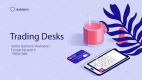 Isometric work desk banner. freelance desk royalty free stock images