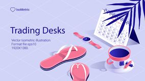Isometric work desk banner. freelance desk stock photos