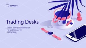 Isometric work desk banner. freelance desk vector illustration