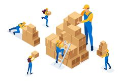 Isometric The work of movers in the warehouse, placing boxes, collecting goods. Concept for web design.  stock illustration