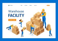 Isometric The work of movers in the warehouse. Placing boxes, collecting goods. Template Landing page royalty free illustration