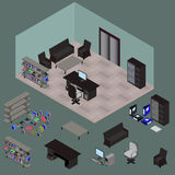 Isometric work place with set of objects. Table, computer bookshelves, armchair, sofa, folder, file, books in vector Royalty Free Stock Images