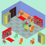 Isometric work place with set of objects. Table, computer; bookshelves, armchair, sofa, folder, file, books in vector Royalty Free Stock Photos