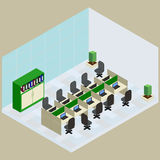 Isometric work place in vector. Isometric work place with set of objects table, computer bookshelves, armchair, folder in vector Royalty Free Stock Photo