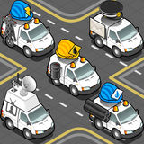 Isometric Workers Trucks. Detailed illustration of a Isometric Electrician, Hydraulic, Oilman, Postman, Cameraman Trucks Royalty Free Stock Image