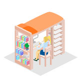Isometric workplace for child. child Room. Loft bed with table chair and books. Flat 3D illustration. Set of object Stock Image