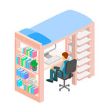Isometric workplace for child. child Room. Loft bed with table chair and books. Flat 3D illustration. Set of object Stock Photos