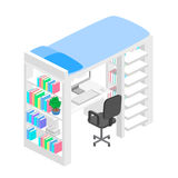Isometric workplace for child. child Room. Loft bed with table chair and books. Flat 3D illustration. Set of object Stock Photo