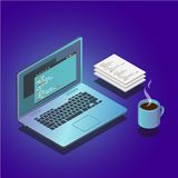 Isometric workspace composition with laptop and papers. 3d vector illustration. royalty free stock image