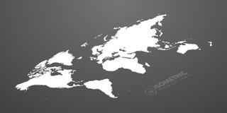 Isometric world map in dark background  illustration.  Royalty Free Stock Photos