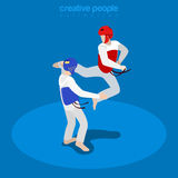 Isometric wrestling fight sports Flat 3d vector il Royalty Free Stock Photos