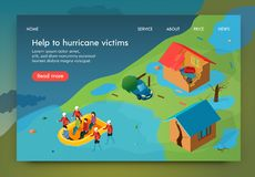 Isometric is Written Help to Hurricane Victims. Rescue Service Evacuates Residents from Homes Destroyed by Hurricane. Rescuers Carry Boat Victims  Flood vector illustration