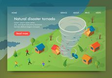 Isometric is Written Natural Disaster Tornado. Vector Illustration Men and Women are Booged into Shelter from Hurricane. Countryside House is Destroyed by vector illustration
