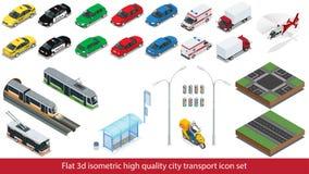 Isometric wysokiej jakości miasto transportu ikony ustalony metro, policja, taxi ciężarowy samochodowy Mini, sedanu helikopter, u Zdjęcie Stock
