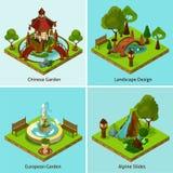 Landscape design isometric infographics stock vector for Mountain designs garden city