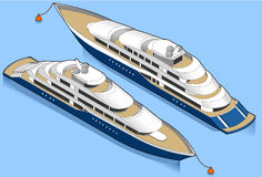 Isometric yacht in blue. In two position Stock Photo