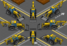 Isometric Yellow Backhoe in Eight Positions Royalty Free Stock Images