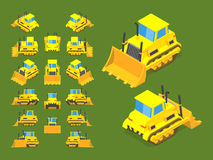 Isometric yellow bulldozer Royalty Free Stock Image