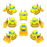 Isometric yellow bulldozer Stock Photography