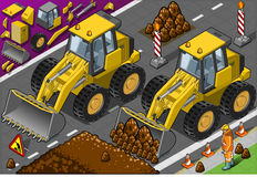 Isometric Yellow Bulldozerin front view Royalty Free Stock Photography
