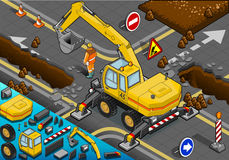 Isometric Yellow Excavator with Four Arms in Rear  Royalty Free Stock Images