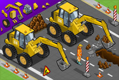 Isometric Yellow Excavator in Front View Royalty Free Stock Images