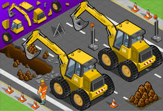 Isometric Yellow Excavator in Rear View Stock Photo