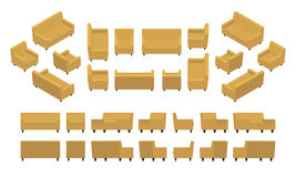 Isometric yellow modern armchair and sofa Royalty Free Stock Images