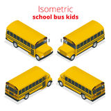 Isometric Yellow School Bus Kids vector illustration isolated on white background.. Transportation pupil or student, transport and automobile Royalty Free Stock Photo