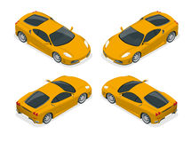 Isometric Yellow sports car. Yellow sports car on a wright background. Flat 3d vector isometric illustration Royalty Free Stock Image