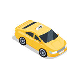 Isometric Yellow Taxi Cab Royalty Free Stock Image