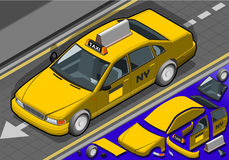 Isometric Yellow Taxi in Front View Stock Photos
