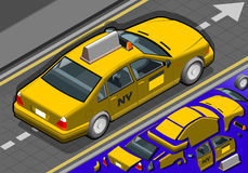 Isometric Yellow Taxi in Rear View Stock Photo