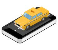 Isometric yellow taxi is on the smartphone on. Taxi service onli. Ne. Taxi 24/7. Calling a taxi. Vector illustration Stock Images